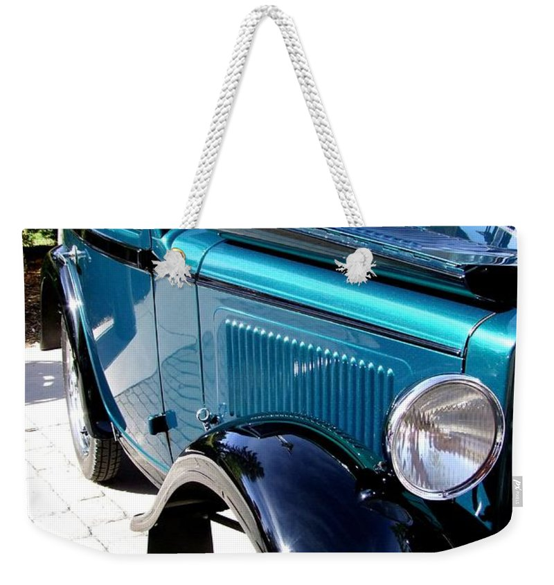 Blue Weekender Tote Bag featuring the photograph 1934 American Austin by Mary Deal