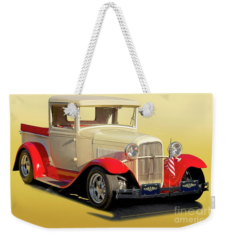 Automobile Weekender Tote Bag featuring the photograph 1934 Ford '49'er' Pickup by Dave Koontz