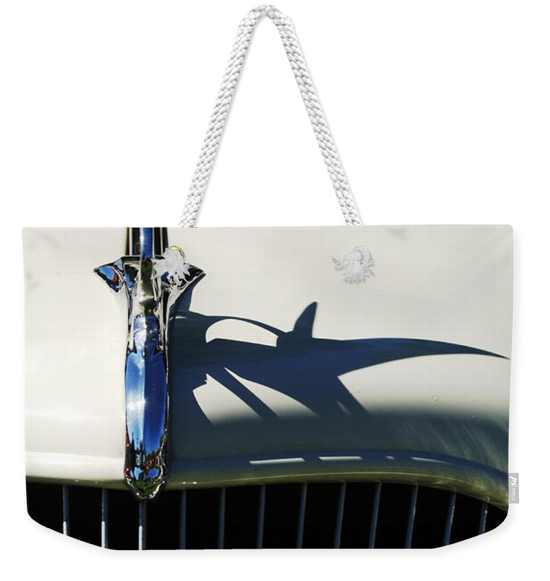 Car Weekender Tote Bag featuring the photograph 1934 Terraplane Coupe Hood Ornament by Jill Reger