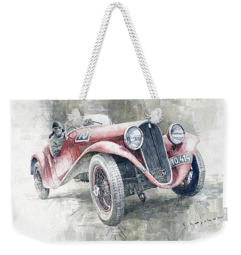 Shevchukart Weekender Tote Bag featuring the painting 1934 Walter Standart S Jindrih Knapp 1000 Mil Ceskoslovenskych Winner by Yuriy Shevchuk