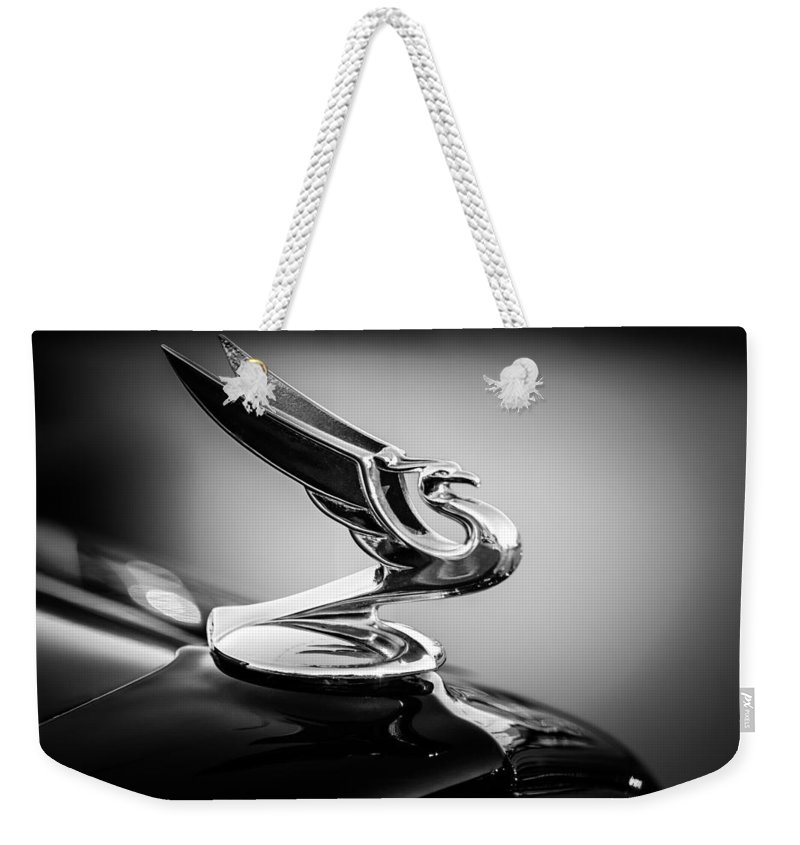 1935 Chevrolet Sedan Hood Ornament Weekender Tote Bag featuring the photograph 1935 Chevrolet Sedan Hood Ornament -0116bw by Jill Reger