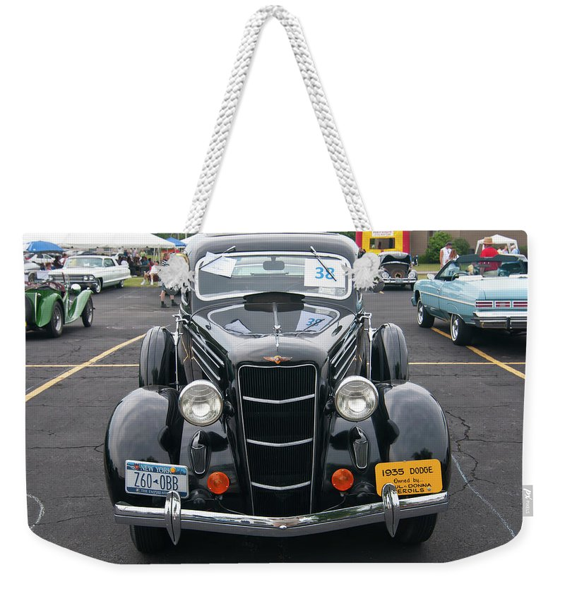 Antique Car Weekender Tote Bag featuring the photograph 1935 Dodge 2019 by Guy Whiteley