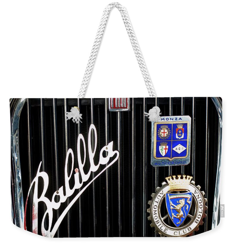1935 Fiat Balilla Sport Spider 508 S coppa D'oro Corsa Mm Weekender Tote Bag featuring the photograph 1935 Fiat Balilla Sport Spider Grille by Jill Reger