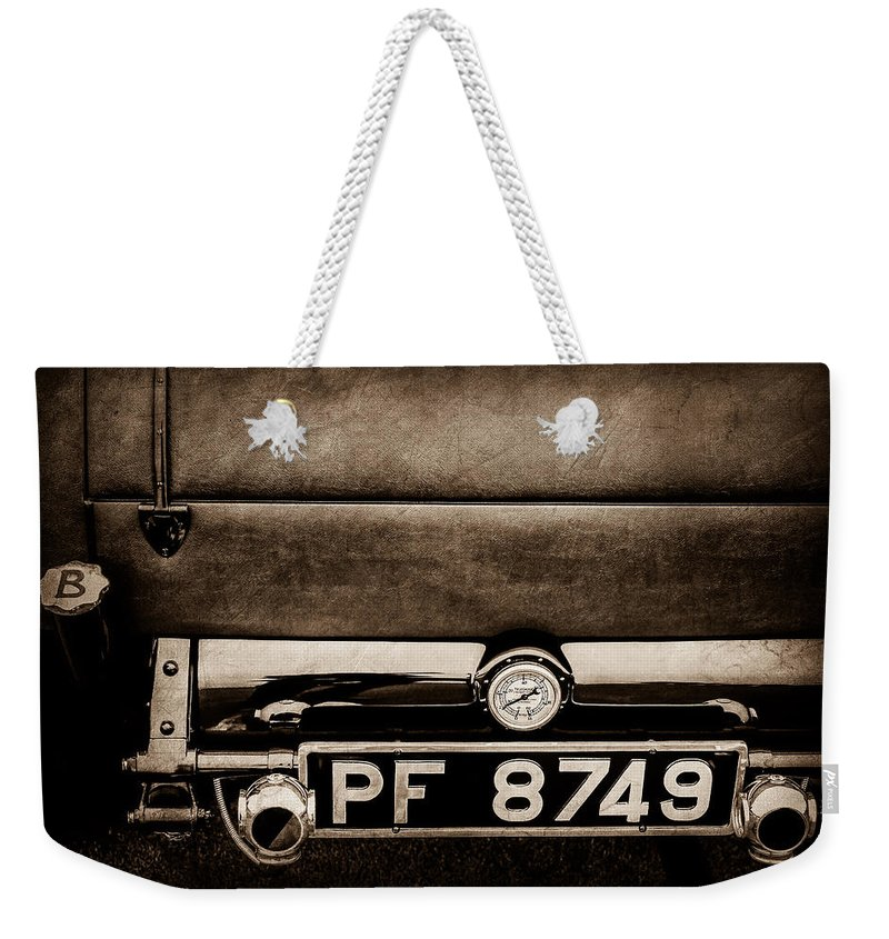 1936 Bugatti Type 57s Corsica Tourer License Plate Weekender Tote Bag featuring the photograph 1936 Bugatti Type 57s Corsica Tourer License Plate -0067s by Jill Reger