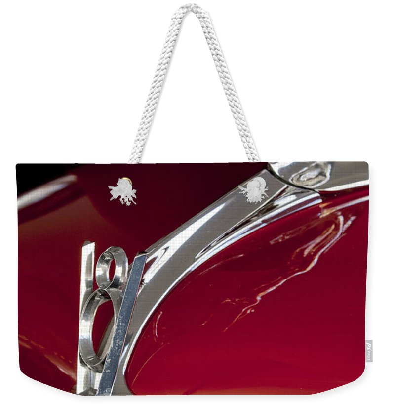 1936 Ford 68 Pickup Weekender Tote Bag featuring the photograph 1936 Ford 68 Pickup Hood Ornament by Jill Reger