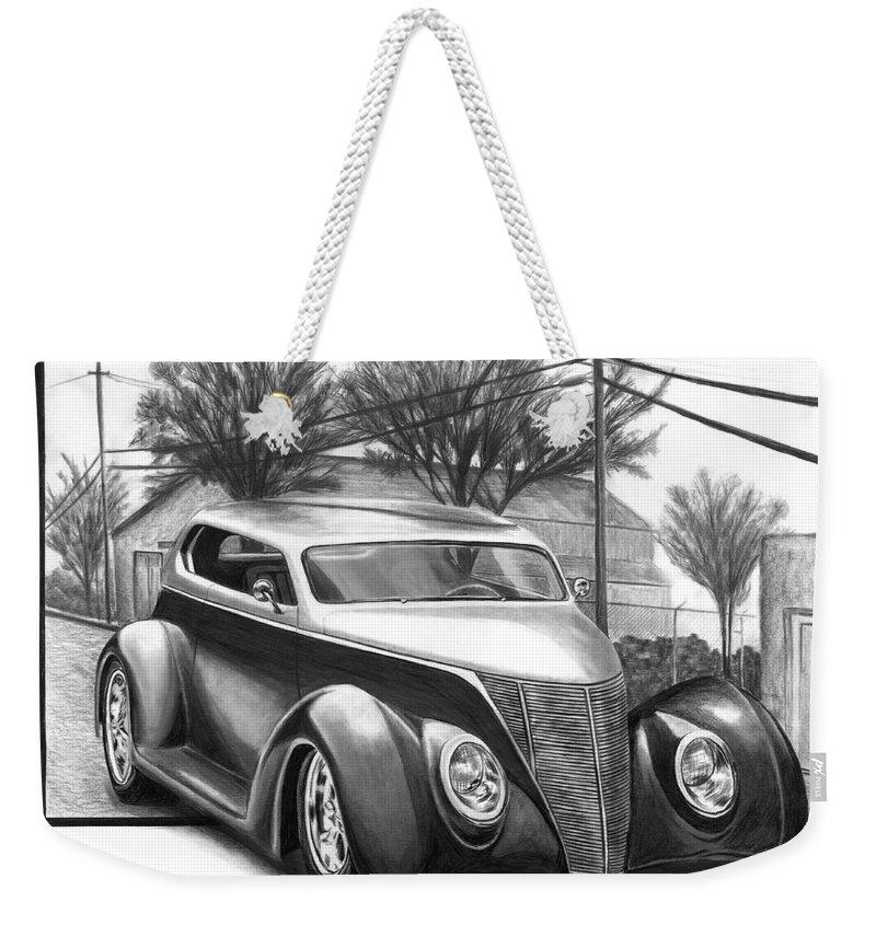 1937 For Sedan Weekender Tote Bag featuring the drawing 1937 Ford Sedan by Peter Piatt