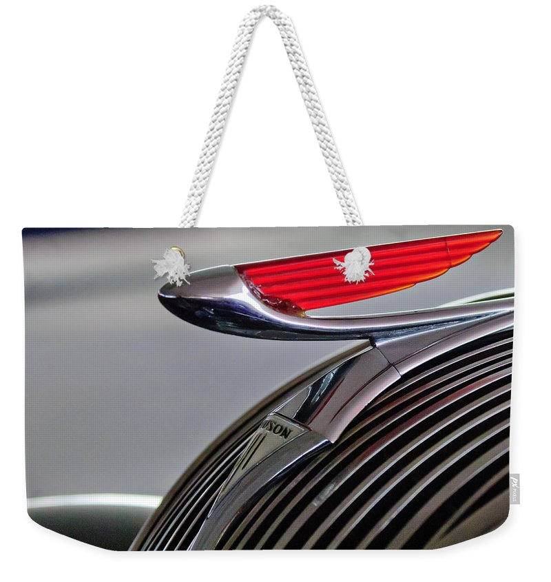 1937 Hudson Terraplane 4 Door Sedan Weekender Tote Bag featuring the photograph 1937 Hudson Terraplane Sedan Hood Ornament by Jill Reger