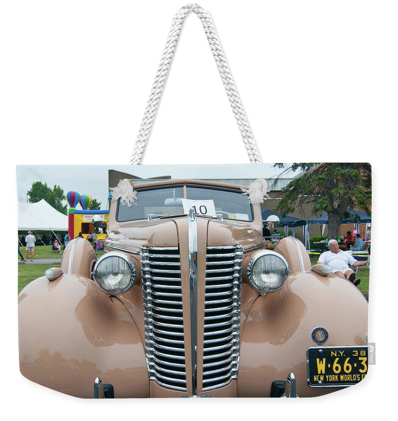 Antique Car Weekender Tote Bag featuring the photograph 1938 Buick 2087 by Guy Whiteley