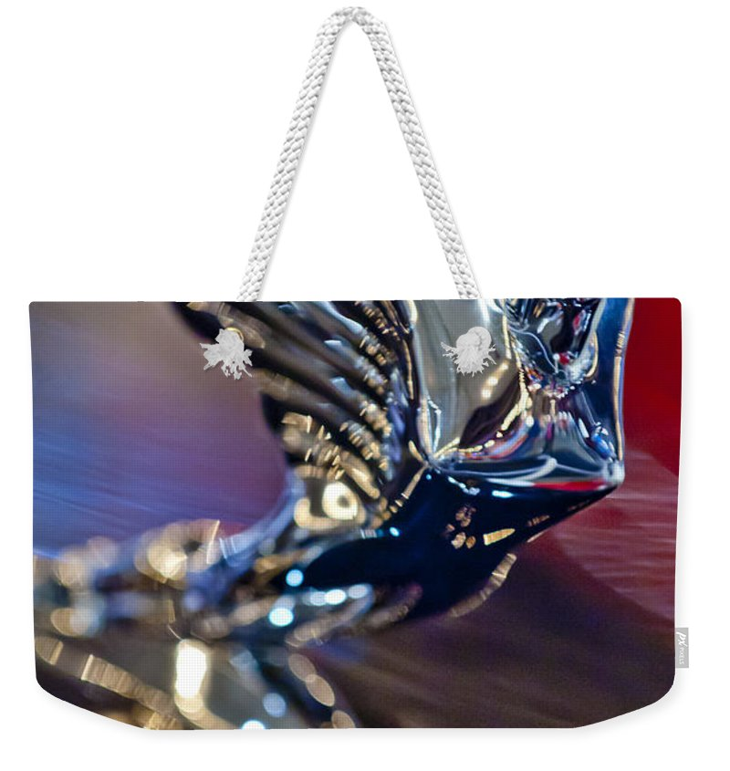 1938 Cadillac V-16 Convertible Sedan Weekender Tote Bag featuring the photograph 1938 Cadillac V-16 Hood Ornament by Jill Reger