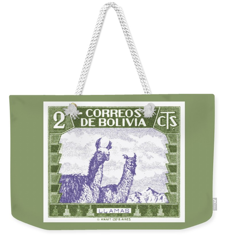 Bolivia Weekender Tote Bag featuring the digital art 1939 Bolivia Llamas Postage Stamp by Retro Graphics