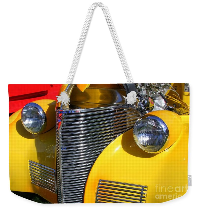 Classic Chevy Weekender Tote Bag featuring the photograph 1939 Chevy by Mary Deal