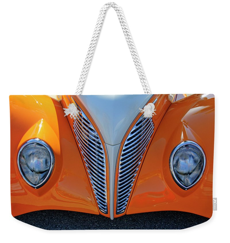 1939 Ford Weekender Tote Bag featuring the photograph 1939 Ford Hot Rod Cvt Grille by Jill Reger