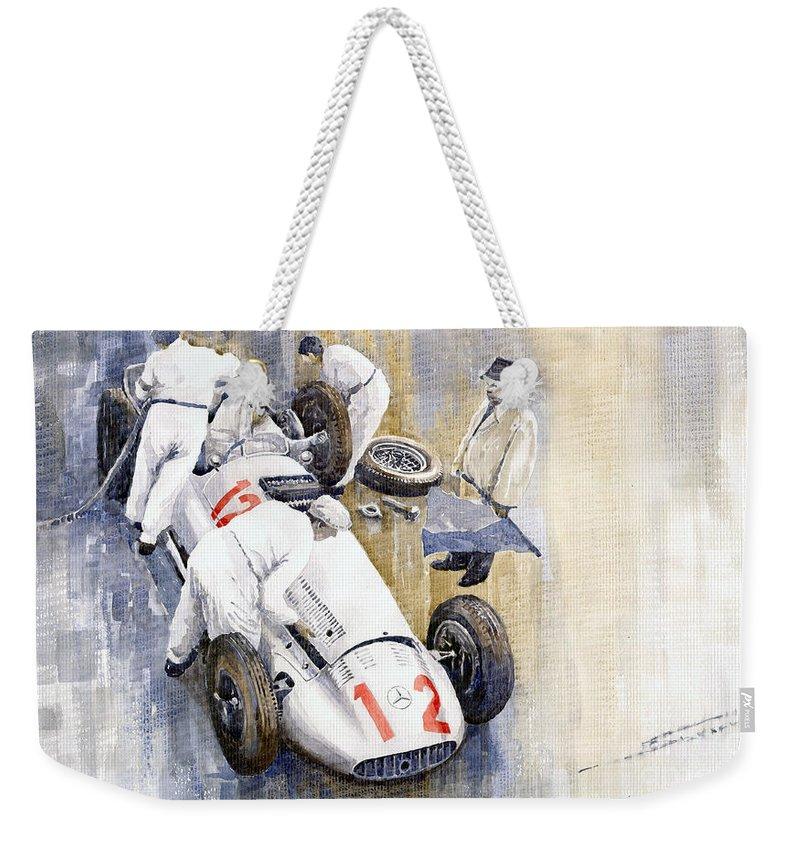 Watercolour Weekender Tote Bag featuring the painting 1939 German Gp Mb W154 Rudolf Caracciola Winner by Yuriy Shevchuk