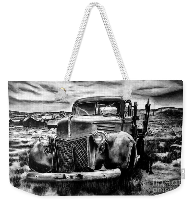 1940 Ford Weekender Tote Bag featuring the drawing 1940 Ford 1-ton 1940 by Ed Mancuso