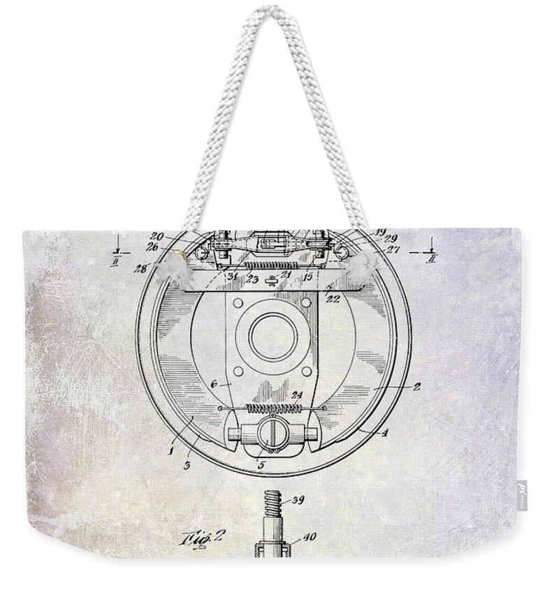 Porsche Patent Weekender Tote Bag featuring the photograph 1941 Porsche Brake Mechanism Patent by Jon Neidert