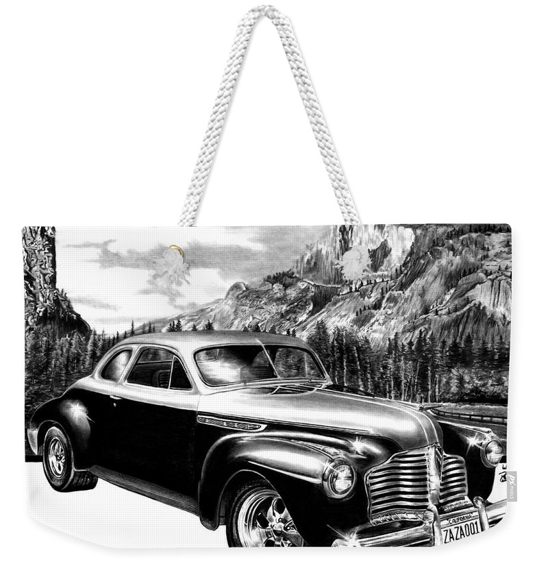 1941 Buick Roadmaster And Half Dome Weekender Tote Bag featuring the drawing 1941 Roadmaster - Half Dome by Peter Piatt