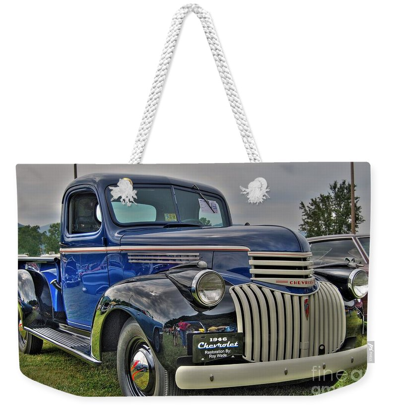 1946 Chevy Weekender Tote Bag featuring the photograph 1946 Chevy by Todd Hostetter