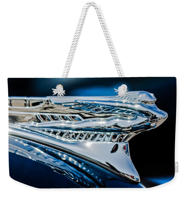 1946 Desoto Weekender Tote Bag featuring the photograph 1946 Desoto Hood Ornament by Jill Reger