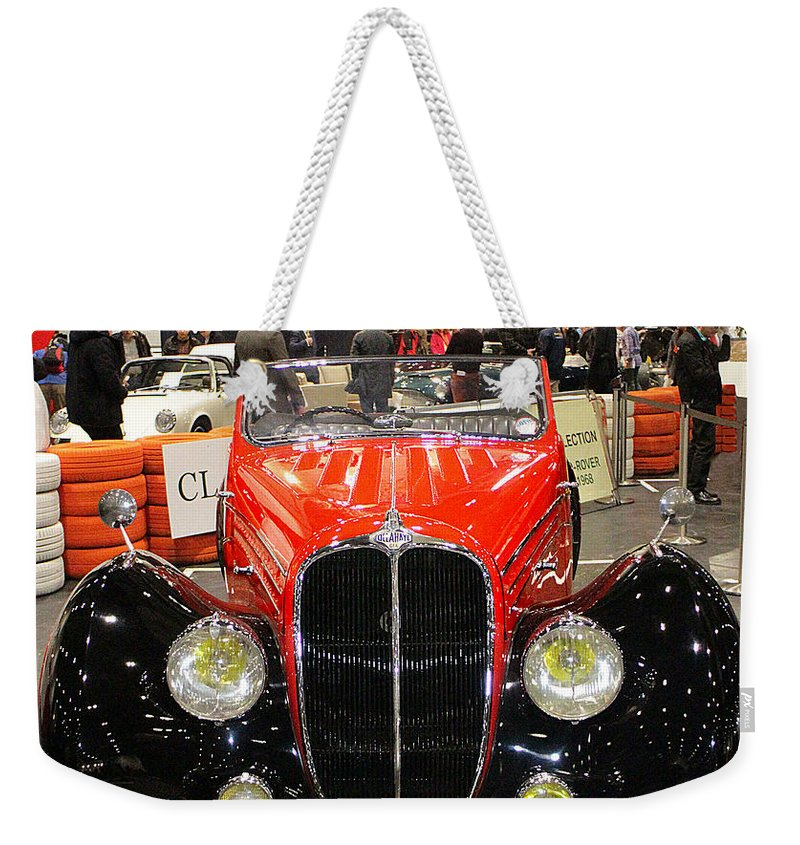 1947 Weekender Tote Bag featuring the photograph 1947 Delahaye 135m Letourner Et Marchand Cabriolet by Peter Lloyd