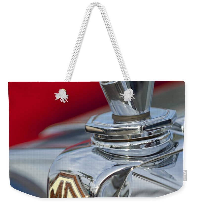 1947 Mg Tc Weekender Tote Bag featuring the photograph 1947 Mg Tc Non-standard Hood Ornament by Jill Reger