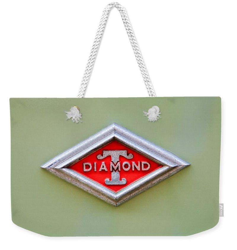 1948 Diamond T Emblem Weekender Tote Bag featuring the photograph 1948 Diamond T Emblem -ck0879c by Jill Reger