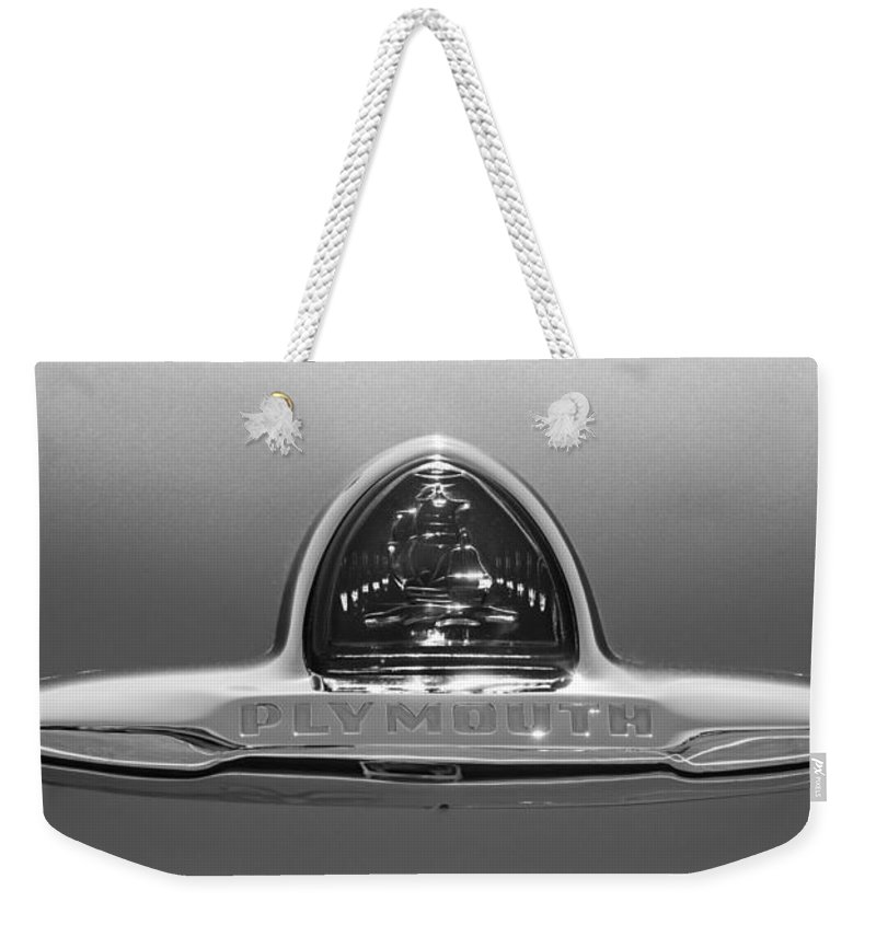 1948 Plymouth Coupe Emblem Weekender Tote Bag featuring the photograph 1948 Plymouth Coupe Emblem -0190bw by Jill Reger