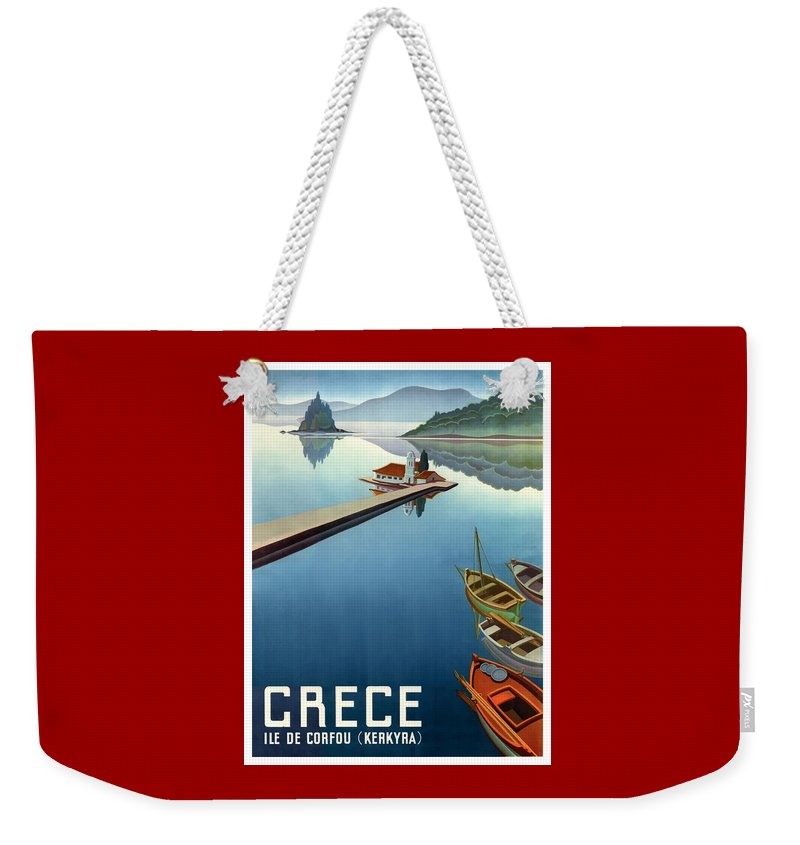 Greece Weekender Tote Bag featuring the digital art 1949 Corfu Greece Travel Poster by Retro Graphics