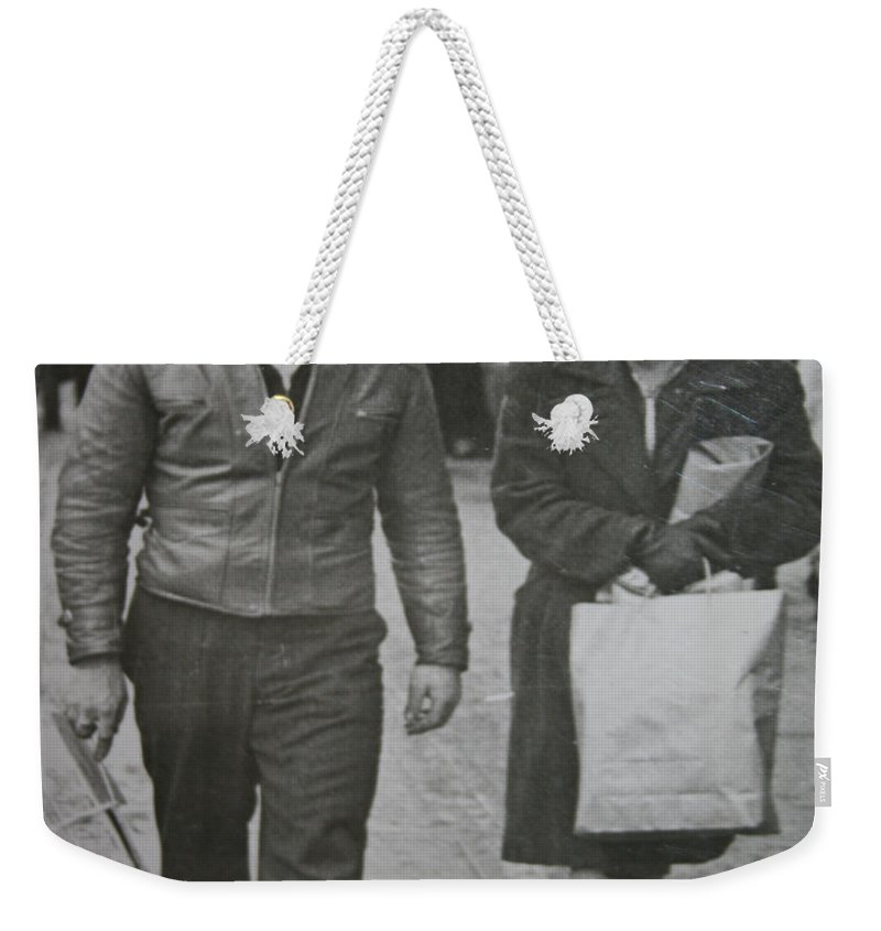 1950 Fashion Black And White Photograph Old Images Classic Weekender Tote Bag featuring the photograph 1950s Fashion by Andrea Lawrence