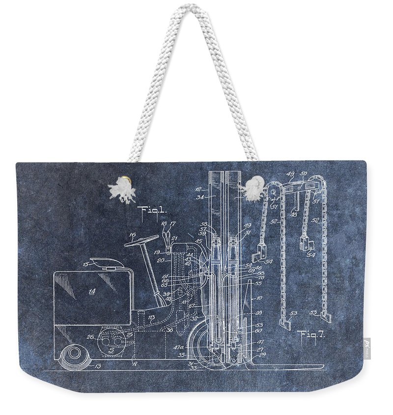 1951 Lift Truck Patent Weekender Tote Bag featuring the mixed media 1951 Forklift Patent by Dan Sproul