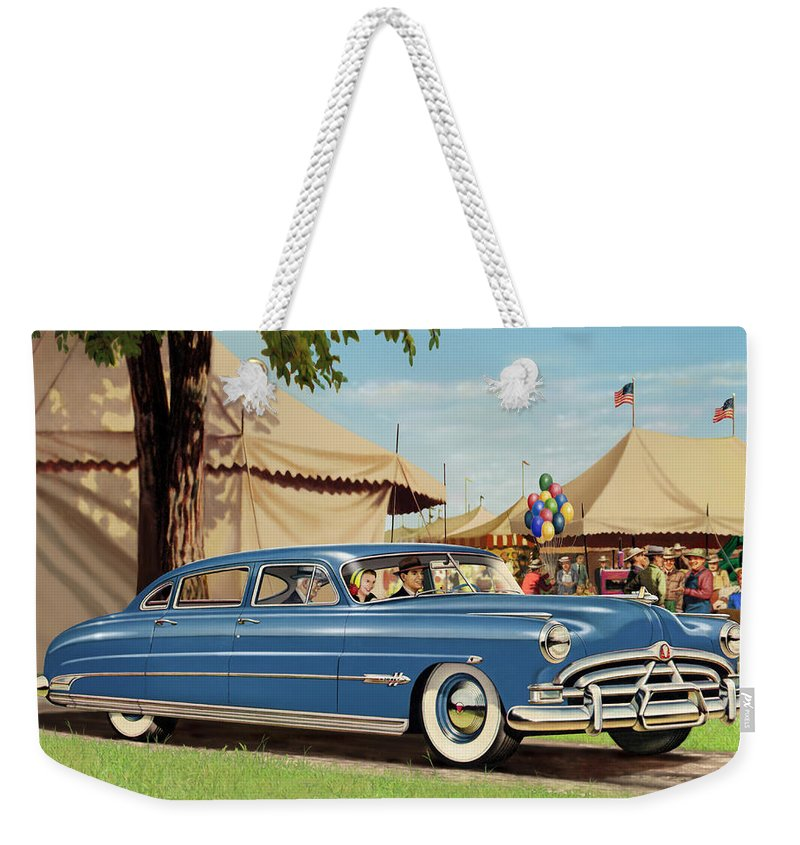 Squre Format Weekender Tote Bag featuring the digital art 1951 Hudson Hornet - Square Format - Antique Car Auto - Nostalgic Rural Country Scene Painting by Walt Curlee