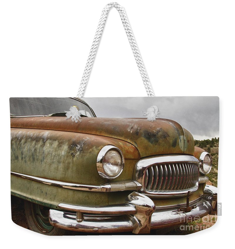 1951 Weekender Tote Bag featuring the photograph 1951 Nash Ambassador Hydramatic Front End by James BO Insogna