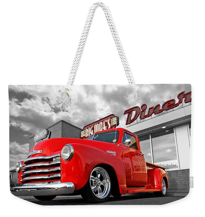 Chevrolet Truck Weekender Tote Bag featuring the photograph 1952 Chevrolet Truck At The Diner by Gill Billington