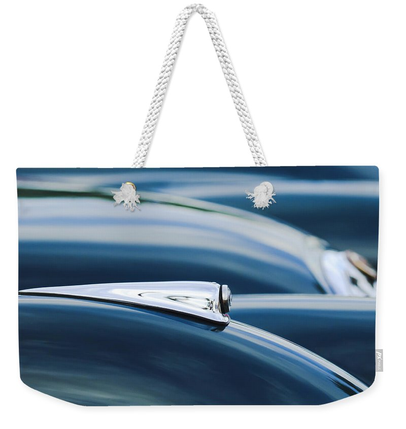 1952 Jaguar Weekender Tote Bag featuring the photograph 1952 Jaguar Hood by Jill Reger