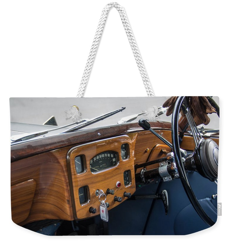 52 Weekender Tote Bag featuring the photograph 1952 Triumph Renown Limosine Instrument Panel by Robert Kinser