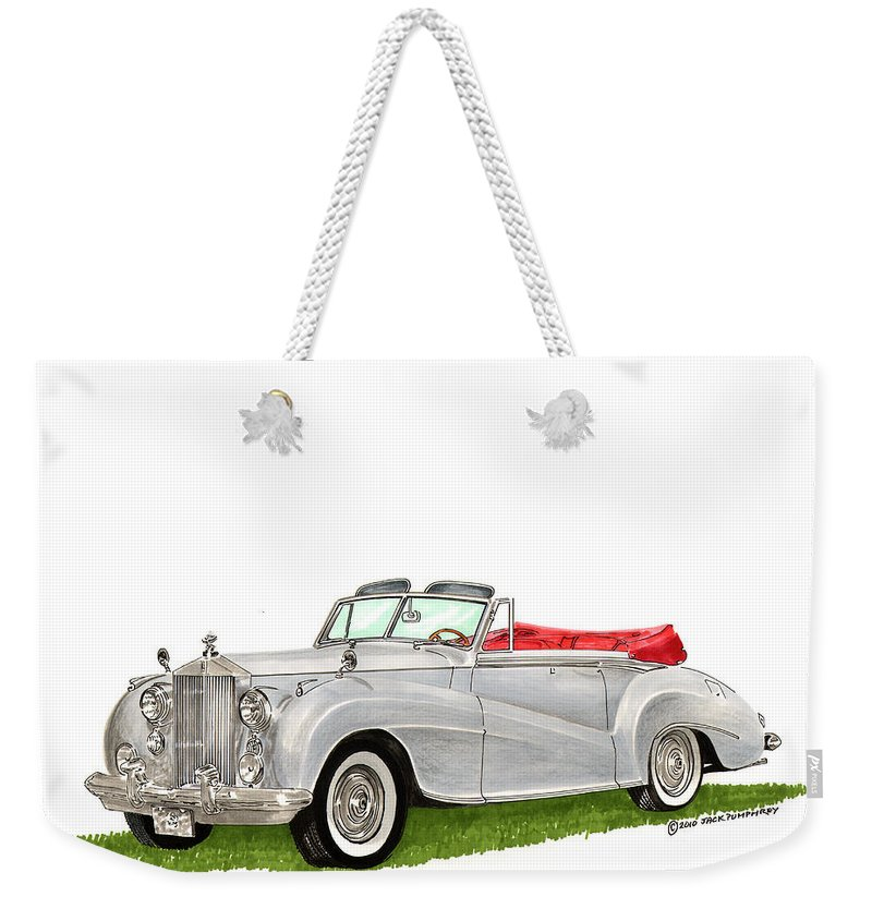 Classic Cars Of Europe Weekender Tote Bag featuring the painting Rolls Royce Silver Dawn 1953 by Jack Pumphrey