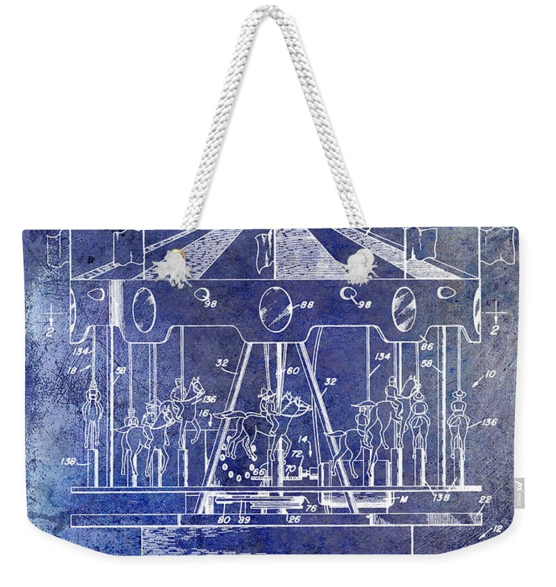 Merry Go Round Weekender Tote Bag featuring the photograph 1953 Toy Merry Go Round Patent Blue by Jon Neidert