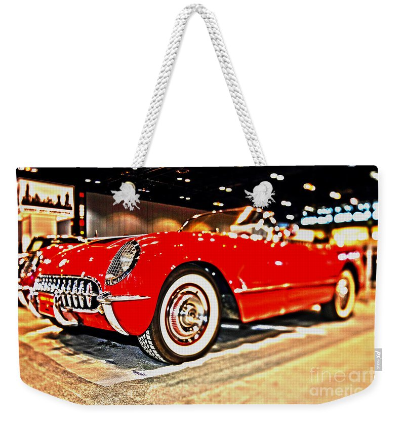 Auto Weekender Tote Bag featuring the photograph 1954 Chevrolet Corvette Number 2 by Alan Look
