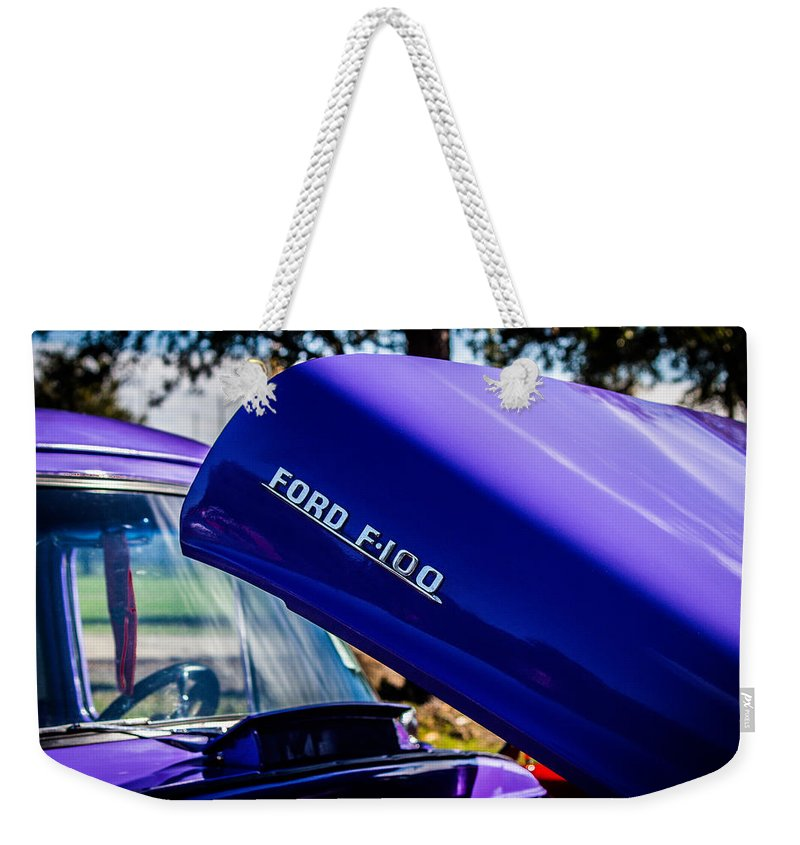 Ford Weekender Tote Bag featuring the photograph 1954 Ford F100 by Anthony Evans