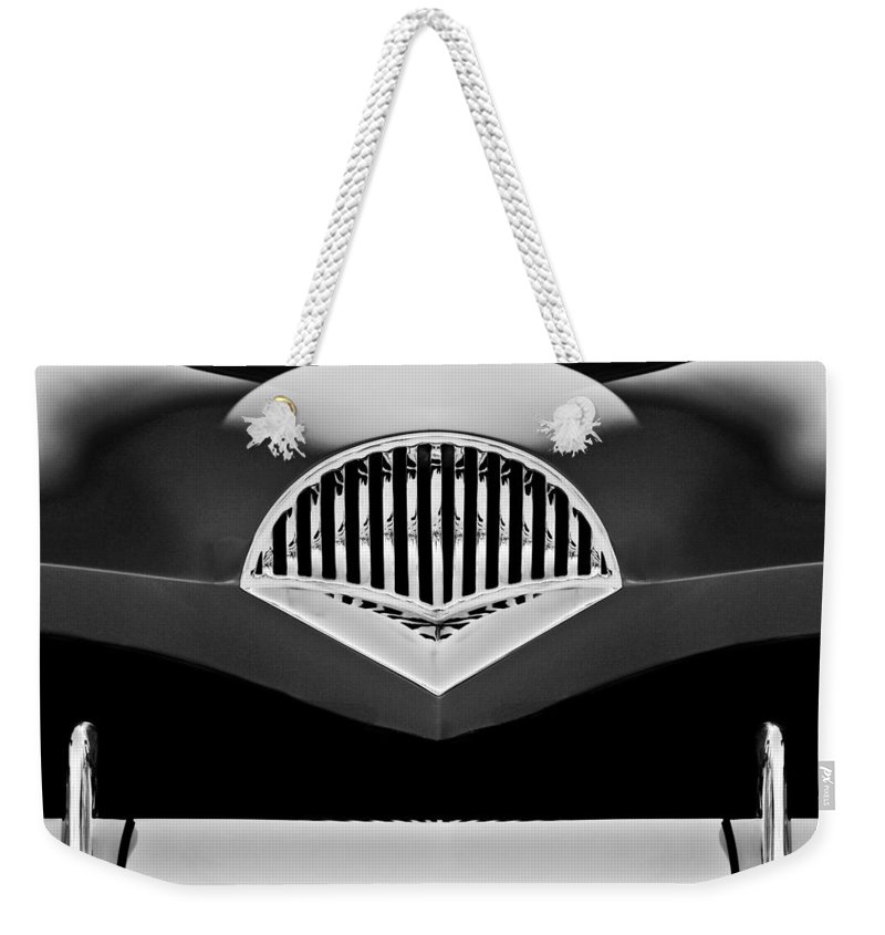 Transportation Weekender Tote Bag featuring the photograph 1954 Kaiser Darrin Grille Black And White by Jill Reger