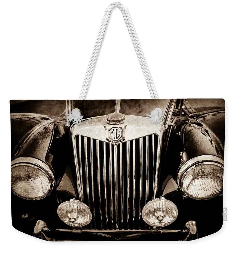 1954 Mg Tf Grille Emblem Weekender Tote Bag featuring the photograph 1954 Mg Tf Grille Emblem -0165s by Jill Reger