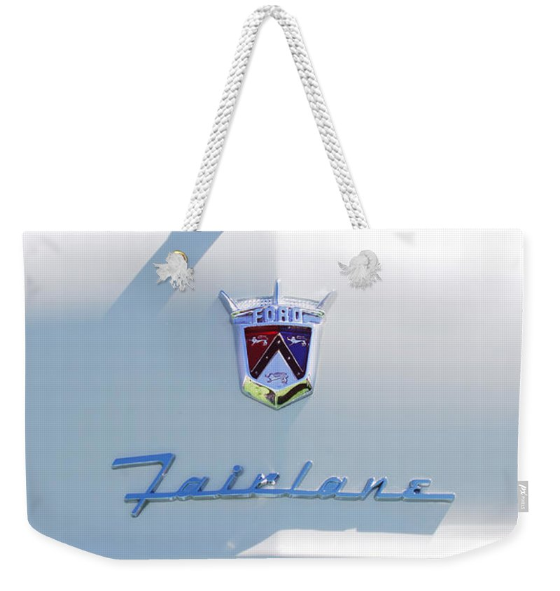 Car Weekender Tote Bag featuring the photograph 1955 Ford Fairland Hood Ornament by Jill Reger