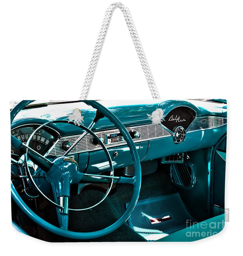Bloomington Weekender Tote Bag featuring the photograph 1956 Chevrolet Belair Interior Hdr No 1 by Alan Look