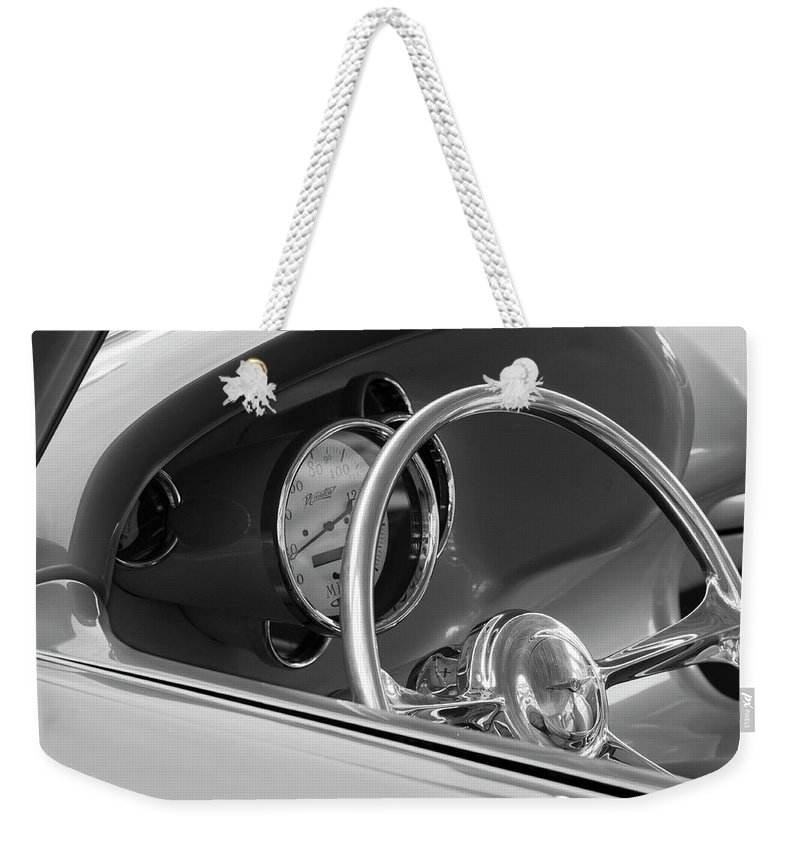 1956 Chrysler Custom 2 Door Sport Wagon Weekender Tote Bag featuring the photograph 1956 Chrysler Hot Rod Steering Wheel by Jill Reger