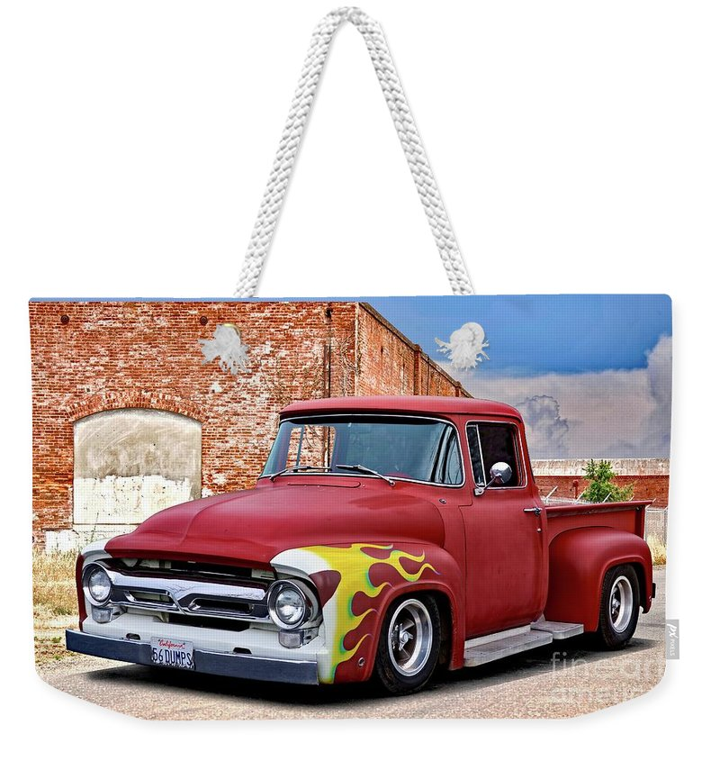 Automobile Weekender Tote Bag featuring the photograph 1956 Ford F100 'brickyard' Pickup by Dave Koontz