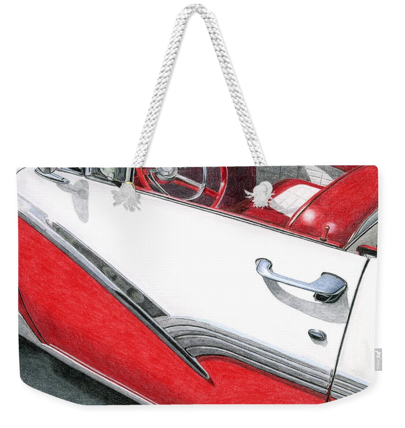 Americana Weekender Tote Bag featuring the drawing 1956 Ford Fairlane Convertible 2 by Rob De Vries