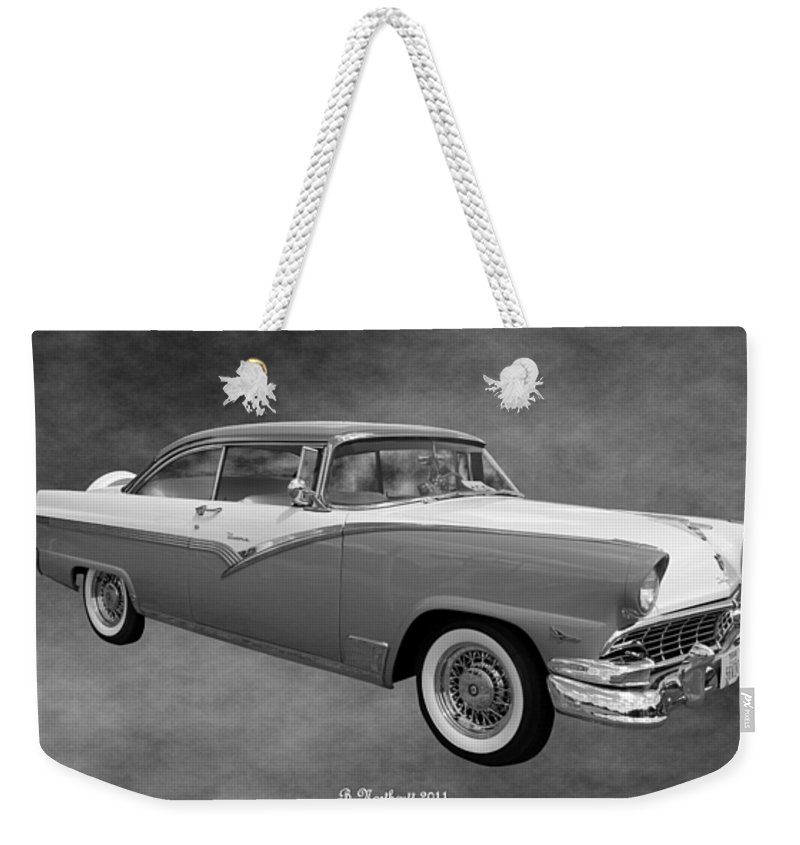 1956 Weekender Tote Bag featuring the photograph 1956 Ford Fairlane Victoria by Betty Northcutt