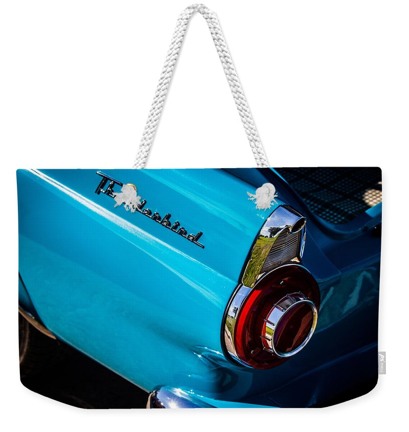 1956 Weekender Tote Bag featuring the photograph 1956 Ford Thunderbird 2 by Anthony Evans