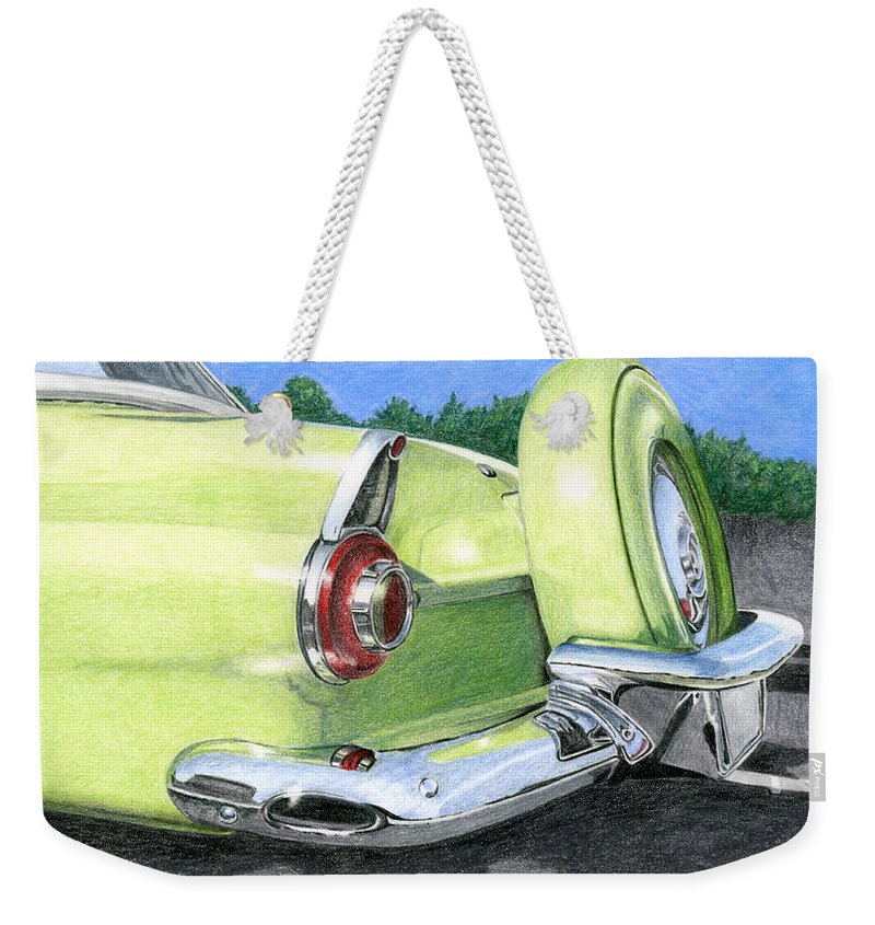 Classic Weekender Tote Bag featuring the drawing 1956 Ford Thunderbird by Rob De Vries