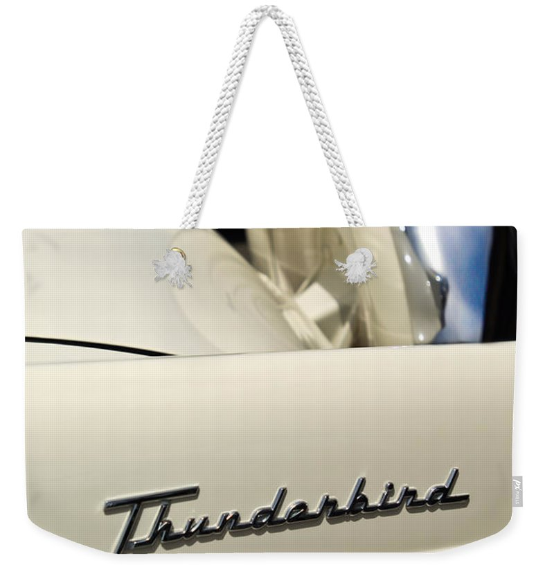 Car Weekender Tote Bag featuring the photograph 1956 Ford Thunderbird Spare Tire by Jill Reger