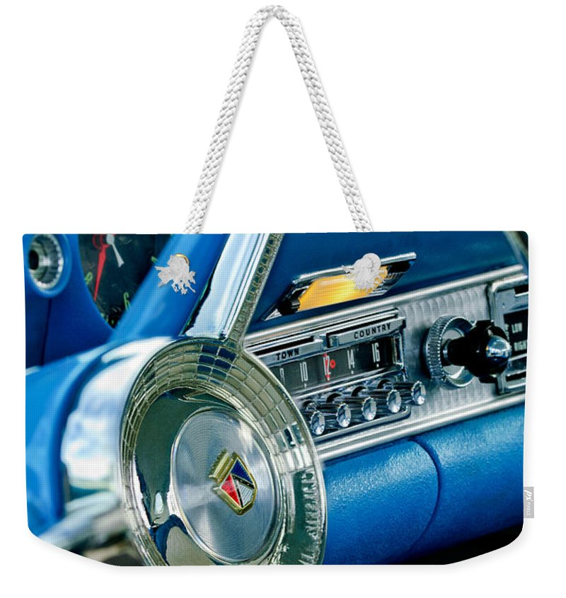 1956 Ford Thunderbird Weekender Tote Bag featuring the photograph 1956 Ford Thunderbird Steering Wheel And Emblem by Jill Reger